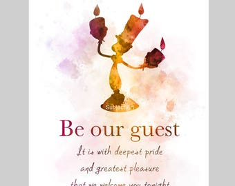 Beauty and the Beast inspired Quote ART PRINT illustration, Lumiere, Song, Be Our Guest, Wall Art, Home Decor