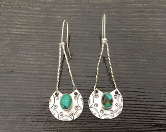 Turquoise Hand-Stamped Sterling Silver Dangles