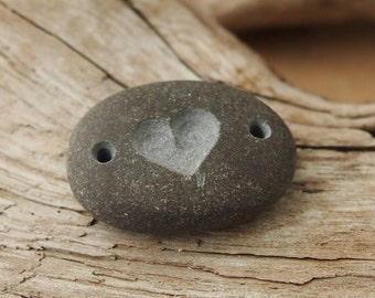 Beach Stone Bead, Black Authentic Surf Tumbled Large Double Drilled Horizontal Hand Engraved Heart, Jewelry Making Bead (DDHRTST-01)