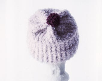Rose in the Snow Adult Ribbed Beanie, Handmade Knitted Hat, Warm and Soft Slouchy Beanie