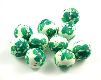 X 10 beads fimo green/white 12mm
