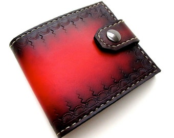 Mens Leather Wallet Red Tooled Bifold with Snap Custom Unique Wallet Can Be Personalized Menswear Gift