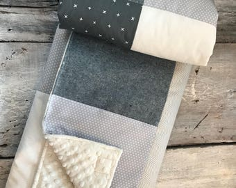 Handmade Baby quilt blanket, denim, cream white and grey blanket , choice of minky color (soft side )