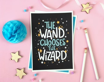 The Wand Chooses the Wizard Print. Witchcraft and Wizardry. Magic Spells. Magic Potions. Magic School. Book Lover. Bookish. Magic Wand. Read