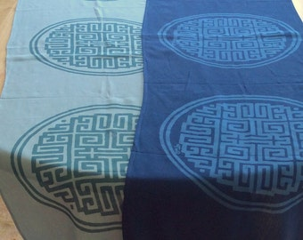 Chinese Trigram of Health, Wealth, Success Table Runner. Prosperity Increase.. Feng Shui brings You Luck!  Aqua or Navy Blue 14.00 ea