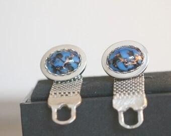 Vintage Cufflinks, Blue and Silver Cuff Links, Mad Men Mid Century Wrap Around Cufflinks, French Cuff Cufflinks
