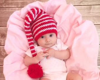 Elf hat, elf hat baby, Christmas baby hat, crochet elf hat, elf hat adult, striped elf hat, christmas kids hat, newborn elf hat