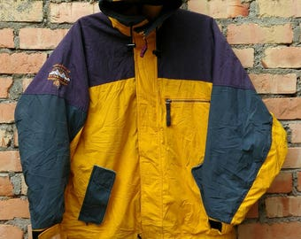 Rare!!! Descente Jacket Ski Yellow Zip Large Size