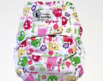 Reusable cloth diaper adjustable multitaille for Pocket or in-one ooga booga baby pink