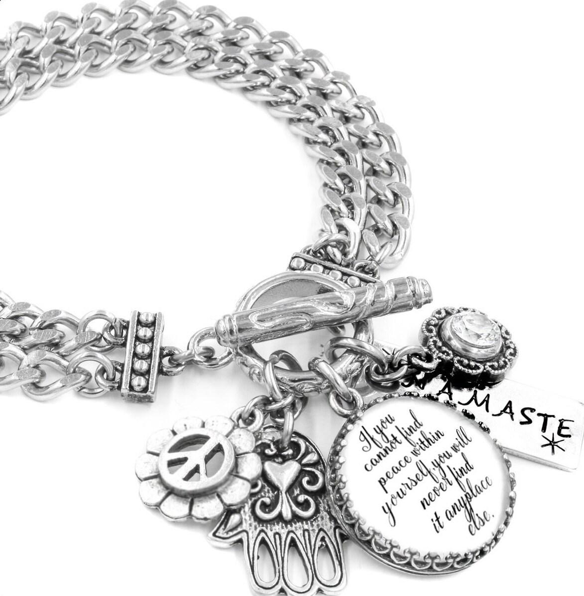 Inspirational Bracelet Silver Inspirational Quote Jewelry