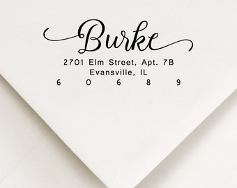 Addressing Gift Stamp, Swashes Stamp, Return Address, Personalized Script, Calligraphy Stamp, Ink Stamp, Wood Handle, Wedding Stamp (89)
