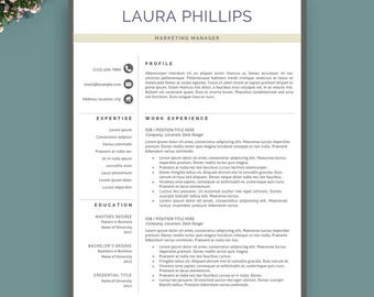 Professional Resume Template, Instant Download, Modern Resume Template, Creative Resume Template, Teacher Resume Template, Professional CV.