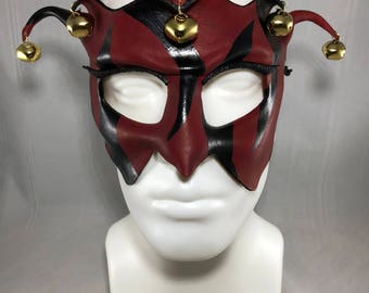 Court Jester Leather Mask