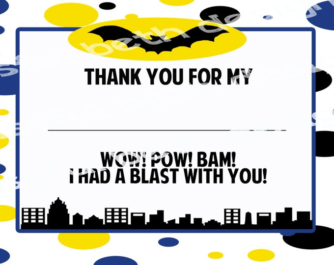 BATMAN THANK YOU Batman Birthday Thank You Card (Polka Dots), Batman Thank You Note, Instant Download