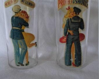 Vintage World Ware II Girlie Glasses from Homefront (2 glasses), Military Barware