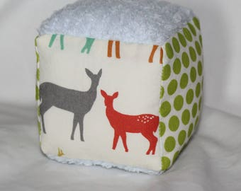 Small Organic Elk Family Fabric Block Rattle Toy
