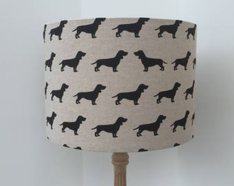 Lampshade black dogs fabric, handmade ceiling/table, 40cm, 30cm or 20cm, dog lovers