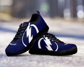 Tampa Bay Lightning Custom Unofficial Black Shoes/Sneakers/Trainers - Ladies, Mens + Kids Sizes, Lightning fan, collector, gift