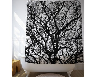 Dried Branches Shower Curtain, Nature Decor, Bathroom Art, Black And White, Tree Shower Art