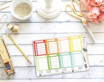Blank Stackable Sidebar Checklist Stickers || 20 Planner Stickers || Erin Condren Life Planner (Vertical Layout)