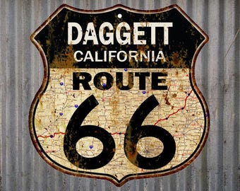 Daggett, California Route 66 Vintage Look Rustic 12X12 Metal Shield Sign S122068