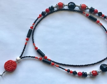 OBL001  Black Onyx and Corals Lanyard