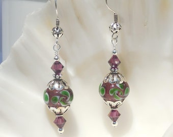 Lampworked glass, Swarovski crystal, and sterling silver earrings