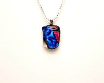 Funny Face Glass Necklace, Dichroic Glass Necklace, Iridescent Pendant, Necklace, Pendant, Dichroic Pendant, Colorful Fused Glass