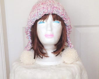 Pom Pom Hat, Knitted Trapper Hat, Trapper Hat, Earflap Hat, Pink Earflap Hat, Knitted Earflap Hat, Pink Chunky Knit Hat, Hand Knitted Hat
