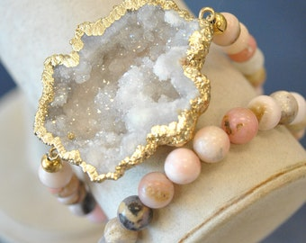 CRYSTALS ON PINK - pink peruvian opal and white druzy crystals wrap bracelet or a choker style necklace