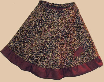 girl's twirly skirt with shorts, girl's clothing, girl's twirly skirt, girl's skirt, girl's skort, skirt and shorts, leopard print