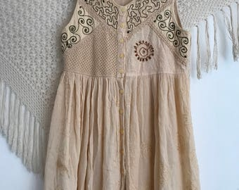 Vintage 1990s babydoll dress, size large, bohemian dress, vintage indian rayon dress, grunge dress, hippie dress, hipster dress, coachella,