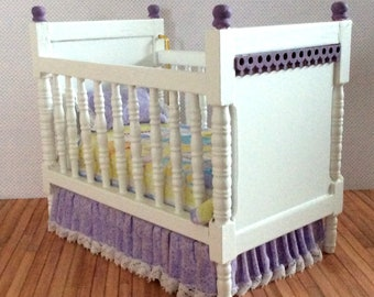 Miniature One Inch Scale Lavender and Yellow Crib