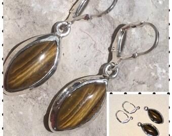 Tiger's Eye Earring, Silver Earring , Tiger's Eye Earring , Gift for Her , Handmade Earring,Tiger's Eye Stone,Gems Jewels Finding