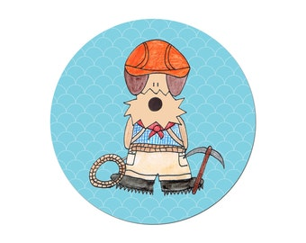 Airedale Terrier Mountaineer Mountain Climber Climbing Welsh Funny Climb Mountain Pinback Button Badge 38 mm / 1.5 inches by Hallo Molly