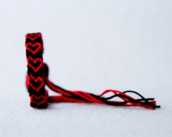 Hearts Friendship Bracelet Black and Red Embroidery Bracelet Threads / Valentine's Day / Stocking Stuffer