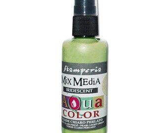 Iridescent light green Aquacolor in spray bottle