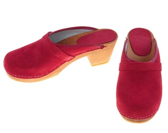 High heel Clogs suede leather red