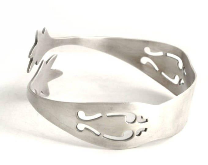 Pierced Silver Bracelet, Sugar Tongs, Antique Sterling Silver Spoon Bangle Bracelet, Unique Gift for Her, Adjustable Bangle Bracelet (6699)