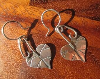 Medium Brutalist Sterling Silver Redbud Dangle Earrings