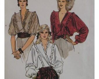 Wrap Blouse Pattern,  Ruffles, V-Neck, Ottoman Batwing Sleeves, Long Sleeves, Vogue No. 8309 UNCUT Size 14