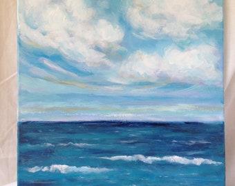 Beach Painting 16x20, Cloud Painting, Overhead by Jamie Howell, Coastal Art, Blue Painting