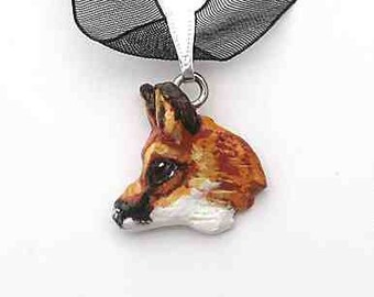 RED FOX Head Profile Handpainted Clay Necklace/Pendant OOAK