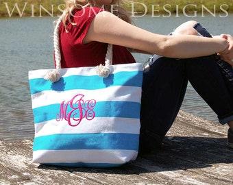Monogram Tote-Monogrammed-Monogram-Beach-Beach Bag-Beach tote-Canvas Bag-Canvas Tote-Custom Tote Bag-market Bag-Turquoise-Teal-Bags-Totes