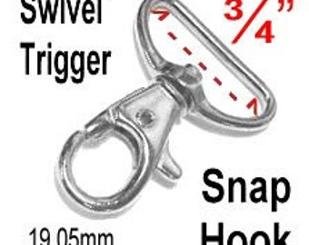 """20 PIECES - 3/4"""" - Swivel Trigger Snap Lobster Claw Hook, 3/4 inch, 19.05mm, Purse Strap Clip, .75"""