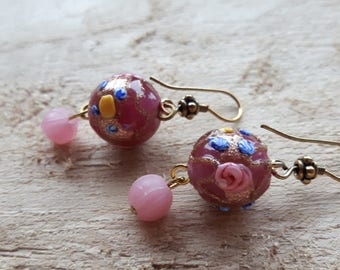 Earrings with Venetian glass and glass beads