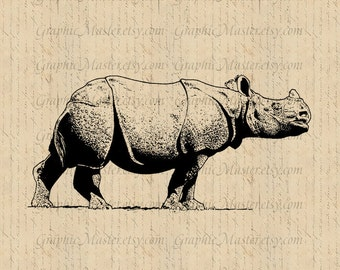 Antique Rhino Wildlife Digital Collage Sheet Download Image Iron On Transfer Prints Burlap Fabric Tote Bags Pillows Tea Towels