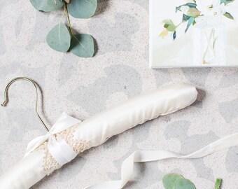 Wedding Dress Hanger, Satin Padded Hanger, Bridal Hanger with Lace, Wedding Hanger with Gold Lace, Bride Hanger, Hanger for Wedding Dress