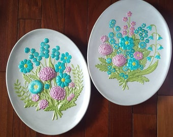 Vintage Chalkware Floral Wall Hanging, Wall Plaque