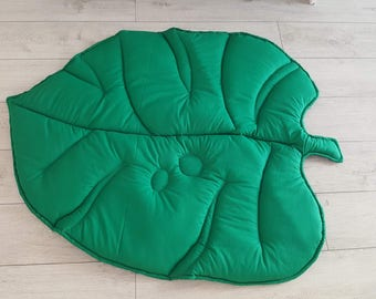 Play Mat, Leaf Mat, Baby Play Mat, Cotton Leaf, Mat For Baby, Green Leaf, Baby Gift, Floor Mat, Padded Baby Mat, Baby Rug, Leaf Floor Rug